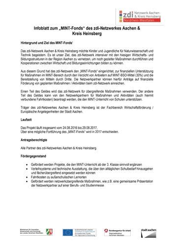 Infoblatt MINT-Fonds